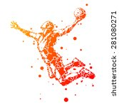 abstract basketball player in... | Shutterstock .eps vector #281080271