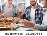 pizza for productive work.... | Shutterstock . vector #281080655