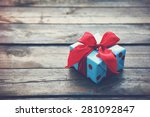 gift box on wooden table as... | Shutterstock . vector #281092847