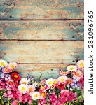 summer colorful flowers on... | Shutterstock . vector #281096765