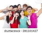 group of smiling friends with...   Shutterstock . vector #281101427