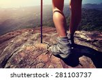 Young Woman Hiker Legs On...