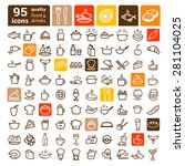 line icon of food and drink ... | Shutterstock .eps vector #281104025