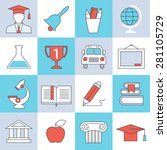 education icons  flat design ... | Shutterstock .eps vector #281105729