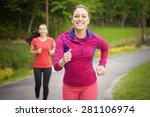 smiling friends running...   Shutterstock . vector #281106974