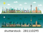 skyline of berlin by day and... | Shutterstock .eps vector #281110295