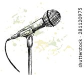 sketch microphone on a white... | Shutterstock .eps vector #281120975