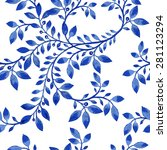 vector blue floral watercolor... | Shutterstock .eps vector #281123294