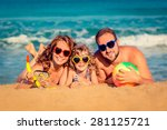 happy family playing at the... | Shutterstock . vector #281125721
