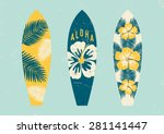 Surfboards With Tropical Desig...
