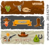 wild west banners with cowboy... | Shutterstock .eps vector #281142749
