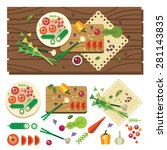 dining table with vegetables... | Shutterstock .eps vector #281143835