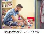 young hipster father changing...   Shutterstock . vector #281145749