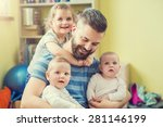young hipster father hugging... | Shutterstock . vector #281146199