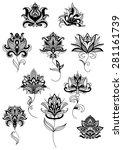 outline paisley black flowers... | Shutterstock .eps vector #281161739