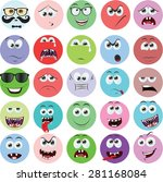 set of cartoon faces with... | Shutterstock .eps vector #281168084