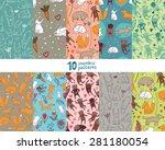 ten seamless pattern with cute... | Shutterstock .eps vector #281180054