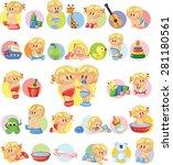vector illustration of baby... | Shutterstock .eps vector #281180561
