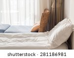 white themed bed sheets and... | Shutterstock . vector #281186981