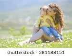 happy family on nature walks in ... | Shutterstock . vector #281188151