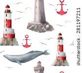 Watercolor Sea Signs Pattern....