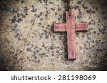 Image Of Wooden Cross On Rusty...