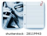 Businesswoman and notepad - stock photo