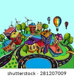 unusual perspective of the city ... | Shutterstock .eps vector #281207009
