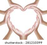 hands make heart shape on white ...   Shutterstock . vector #281210399