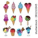set of ice cream. melting ice... | Shutterstock .eps vector #281213345