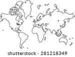 freehand world map sketch on... | Shutterstock .eps vector #281218349