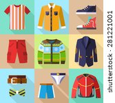 men clothing icons set with... | Shutterstock .eps vector #281221001