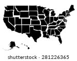 black map of usa with states  | Shutterstock .eps vector #281226365