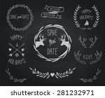 vintage wedding and holidays... | Shutterstock .eps vector #281232971