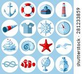 vector set of round nautical... | Shutterstock .eps vector #281233859