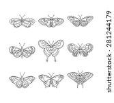 set of butterfly  black outline ... | Shutterstock .eps vector #281244179