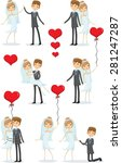 set of wedding pictures  bride... | Shutterstock .eps vector #281247287