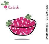 radish on salad bowl isolated... | Shutterstock .eps vector #281250539