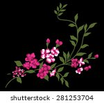 beautiful bouquet on black... | Shutterstock .eps vector #281253704