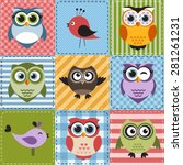 Patchwork With Owls And Birds