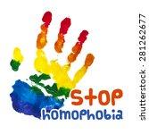 stop homophobia. gouache poster.... | Shutterstock .eps vector #281262677