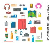 flat design of travel items set ... | Shutterstock .eps vector #281264627