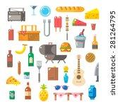flat design of picnic items set ... | Shutterstock .eps vector #281264795