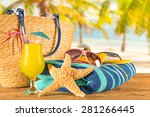 close up of summer accessories... | Shutterstock . vector #281266445
