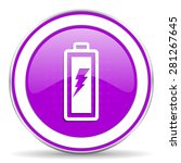 battery violet icon power sign  ...