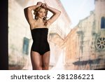 sexy female model posing over... | Shutterstock . vector #281286221
