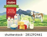 set dairy products  with a cow  ... | Shutterstock .eps vector #281292461