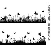 silhouettes grass and twigs of... | Shutterstock .eps vector #281293697