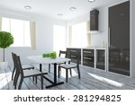 3d rendering of a kitchen | Shutterstock . vector #281294825