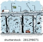 concrete and steel fall from an ... | Shutterstock .eps vector #281298071